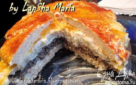 Рецепт Куриный слоеный торт с грибами и цветной капустой