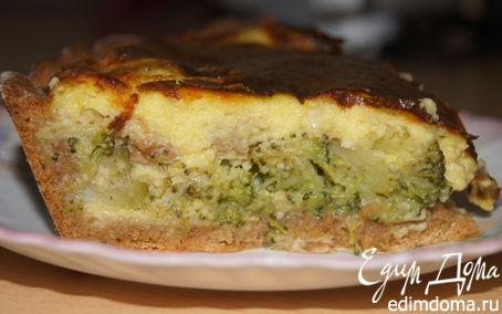 Рецепт Открытый пирог с брокколи и сырной заливкой