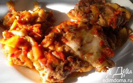 Рецепт Тушеные куриные бедра с овощами, томатной пастилой и сушеным сладким перцем