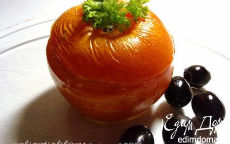 Рецепт Помидоры, фаршированные творогом, сыром и маслинами