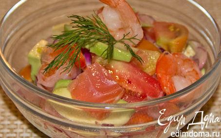 Рецепт Салат с лососем авокадо и креветками