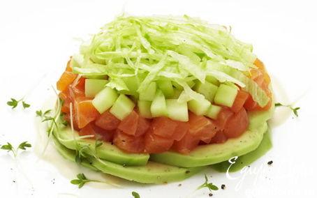 Рецепт Семга под шубой с авокадо и айсбергом