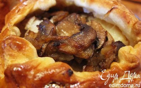 Рецепт Слоеные пирожки с рыбой, грибами и рисом
