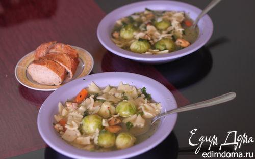 Рецепт Суп из брюссельской капусты и морепродуктов