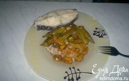 Рецепт Перловка с бамией и бананом + отварной стейк из зубатки в пряном чайном бульоне.