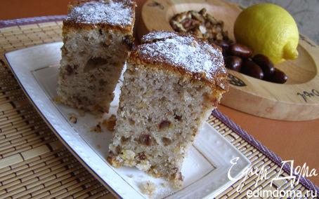 Рецепт Кекс с фиником, грецким орехом и лимонным флёром