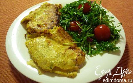 Рецепт Шницель в пряной горчичной панировке с салатом
