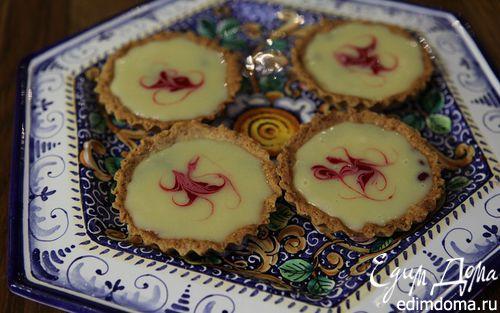 Рецепт Миндальные корзиночки с малиной и ганашем из белого шоколада