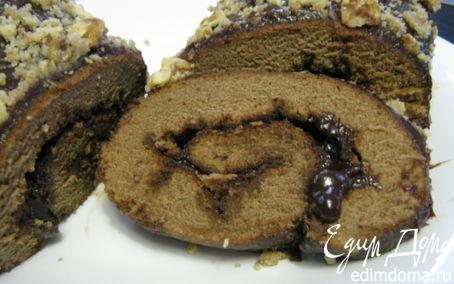 Рецепт Шоколадно-ореховый рулет.