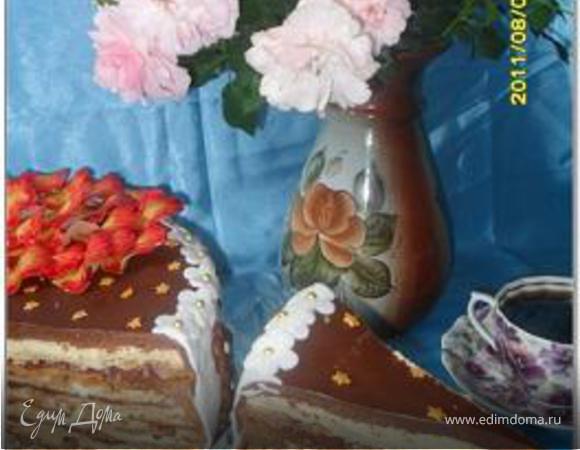 """Торт """"Наполеон"""" и печенье """"Пальчики"""" из одного теста (+ украшение торта """"Жар-птица"""" и рецепт желатиновой мастики)"""
