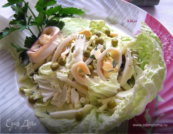 салат из капусты с кальмарами рецепты с фото