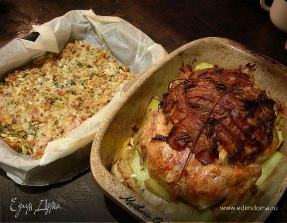 Праздничная курица в итальянском стиле с короной из панчетты, запеченная с чесноком и лимоном, + запеканка из чиабатты с панчетой и лимоном