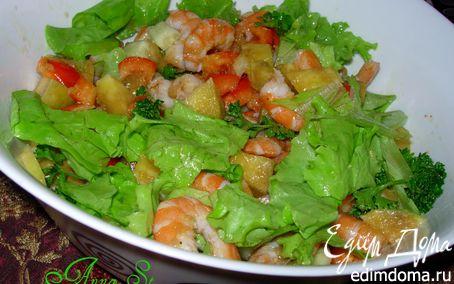 Рецепт Салат с креветками и манго