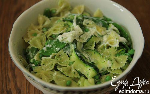 Рецепт Паста с зелеными овощами и сыром буррата
