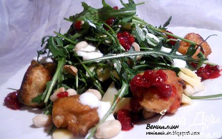 Рецепт Теплый салат с руколой, мясными шариками и бруснично-имбирной заправкой