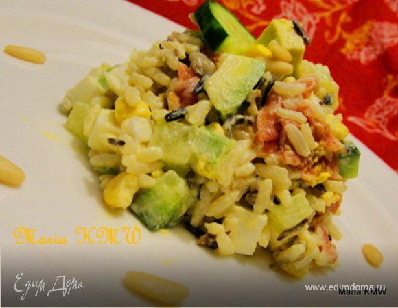 Салат с рисом и прошутто