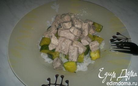 Рецепт Два вида свинины с рисом и цукини