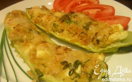 Рецепт Запеченные кабачки, фаршированные кускусом и фетой