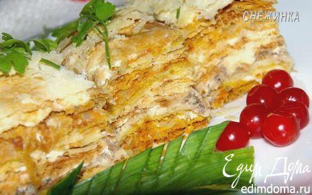 Рецепт Торт «Рыбный» из домашнего слоеного теста