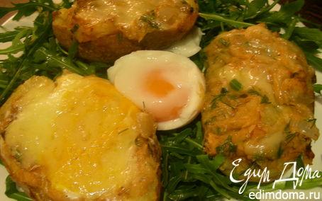 Рецепт Печеный картофель, фаршированный рыбой