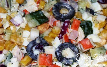 Рецепт Красивый салат из крабовых палочек