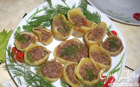 Рецепт Сырные стаканчики с баклажанной икрой