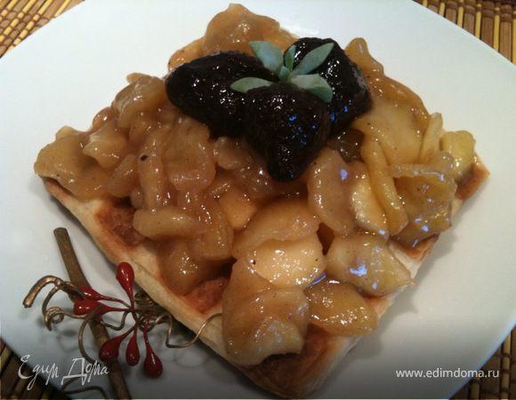 Слоеные вафли с карамельными яблоками