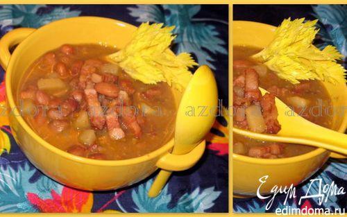 Рецепт Фасолевый суп с копченой грудинкой
