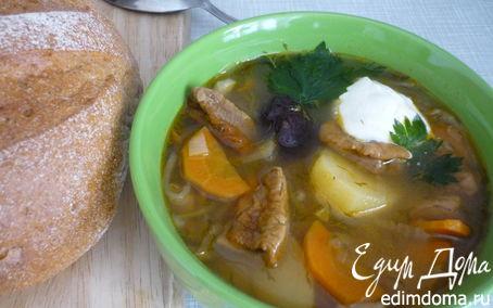Рецепт Щи из квашеной капусты с белыми грибами и айвой