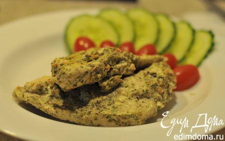Рецепт Курица в творожно-горчичном маринаде с травками-муравками в пароварке