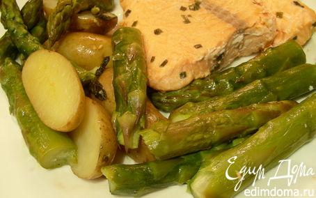 Рецепт Гарнир: картофель и спаржа с мятой и лимонным маслом