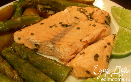 Рецепт Запеченная рыбка с лаймом, эстрагоном и шнитт-луком
