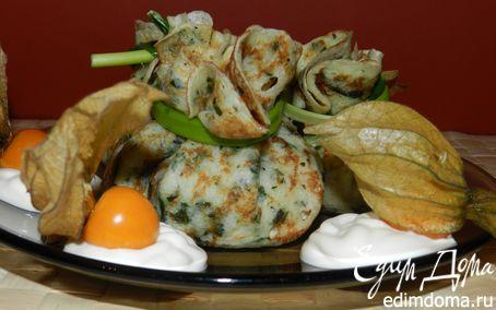 Рецепт Шпинатные блинчики, фаршированные куриной грудкой и белыми грибами в пароварке