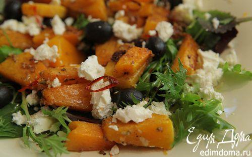 Рецепт Запеченная тыква с оливками и фетой