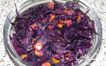 Рецепт Салатик из краснокочанной капусты с кукурузой