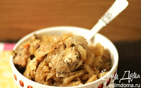Рецепт Тушеная капуста с куриным филе (в мультиварке) в мультиварке