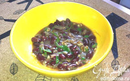Рецепт Красная фасоль с грецкими орехами и кинзой (постное)