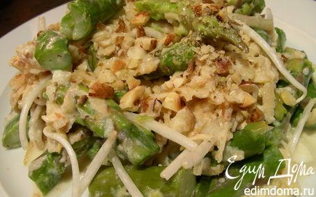 Рецепт Салат со спаржей, яблоком, ростками сои и фундуком