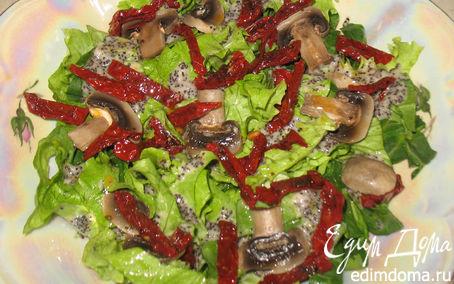 Рецепт Зеленый салат с маковой заправкой