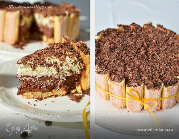 Шарлотка с шоколадно-малиновым муссом и воздушным ванильным кремом