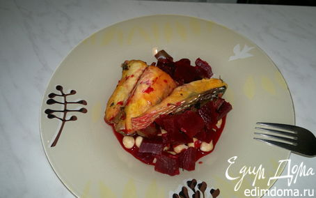 Рецепт Кефаль со свеклой и перцем в лимонной цедре с чесноком и нутом
