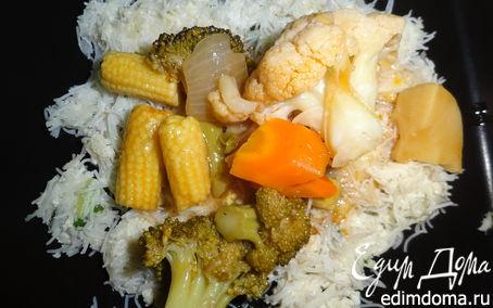 Рецепт Кисло-сладкие овощи на вермишелевой подушке