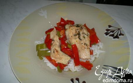 Рецепт Кефаль тушеная с перцами и белым рисом
