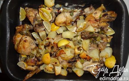 Рецепт Курица с лимоном на жареном картофеле