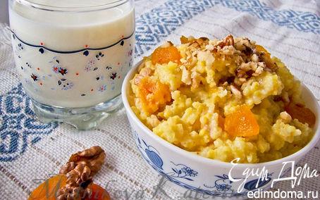 Рецепт Пшенка на молоке с медом, курагой и орехами