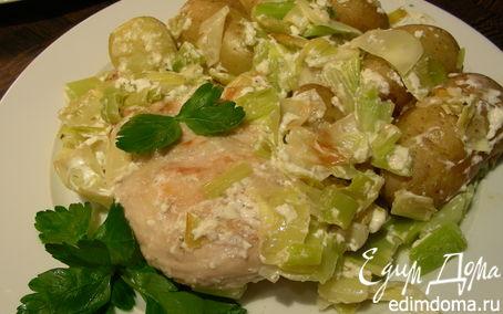Рецепт Курочка с луком-пореем и сливочно-сырным соусом с травами