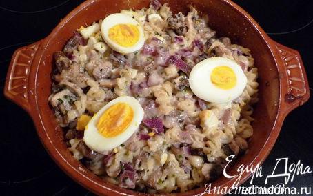 Рецепт Быстрая запеканка с макаронами, грибами и яйцами