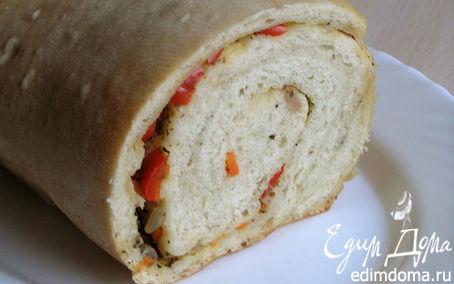 Рецепт Хлеб-рулет с овощами (на закваске)