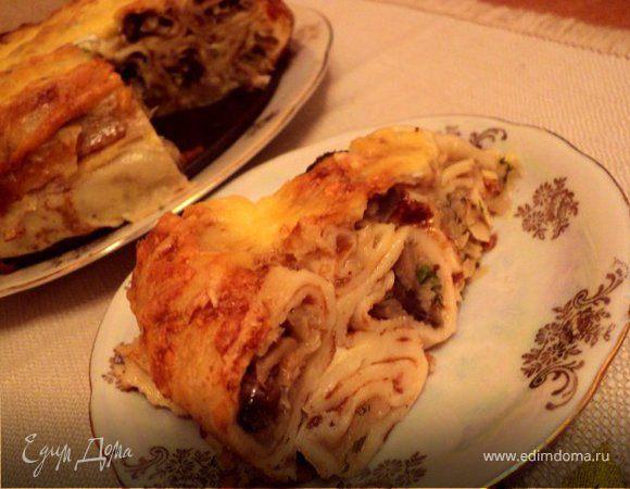 Блинный пирог с грибами и капустой
