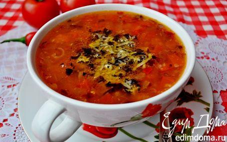 Рецепт Острый гречневый суп с помидорами и базиликово-пармезановой заправкой